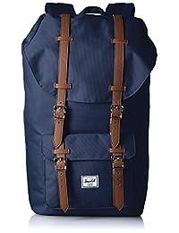 Herschel Supply Little America 大号 中性 经典系列 时尚双肩背包 10014-00746 酒红色/棕褐色合成革 25 L(亚马逊进口直采,加拿大品牌)