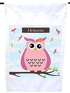 """Rikki Knight""""Octavia""""名字可爱的粉红色猫头鹰与个性化的名字房子或花园旗帜,30.48 x 45.72 cm 旗帜尺寸 11 x 27.94 cm 图像"""