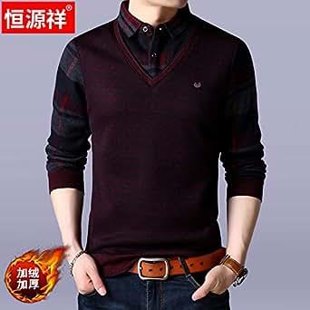 恒源祥冬季假两件衬衫男加绒加厚保暖针织衫青年套头毛衣男士衬衣酒红 185/3XL