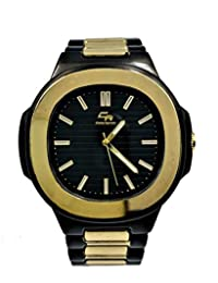 男式經典橢圓形雙色黑色/金色腕表索引表盤易于閱讀夜光指針 - ST10312TTGldblk