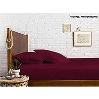 纱支 * 埃及长绒棉缎织物 1000 支床笠四周有弹力 - 适合床垫高达 45.72 cm 酒红色 Queen 22'' Deep