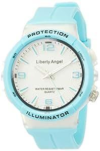 [ALIAS]ALIAS 手表 模拟 逆向天使 10个大气压防水 LED灯聚氨酯表带 天蓝色 ADWW18089-02