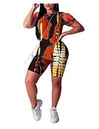 Remxi 女式休闲 2 件套运动服夏季扎染短袖 T 恤修身短裤裤裤套装