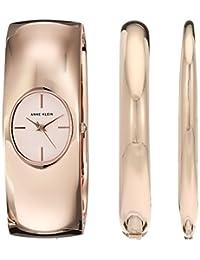 Anne Klein 女士石英金属和合金礼服手表,颜色:玫瑰金色调(型号:AK/2636RGST)