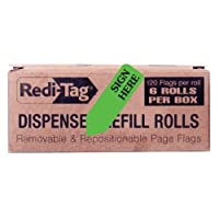 Redi-Tag Sign Here Printed Arrow Flags, 6 Roll Refill, 120 Flags per Roll, 1-7/8 x 9/16 Inches, Light Green (91008)