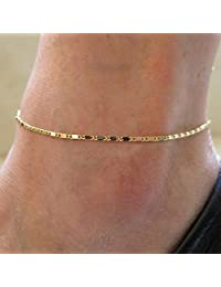 Aukmla 简约脚链手链金色闪亮脚踝手链脚链沙滩脚链首饰女士女孩脚链-013