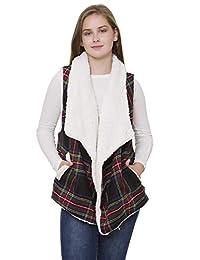Janice Apparel 女士冬季保暖时尚前开襟拉安娜格子图案羊羔绒内衬背心毛衣 W 口袋