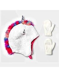 女童冬季帽婴幼儿 3D 独角兽保暖帽和连指手套套装,适合 2T 到 7 岁儿童