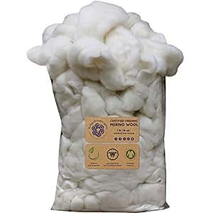 经认证的*美利奴羊毛编织。 符合道德和负责任的纤维,用于纺织、毛毡、填充和烘干机球 - 1 磅袋,天然白色 Organic Merino GBFibOrganicMerino
