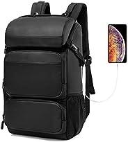 CoolBELL 笔记本电脑背包 17 英寸电脑背包 防水旅行背包 大容量 40L 大容量包 适合 17.3 英寸笔记本电脑 适合女士 / 男士 / 徒步/户外/学校/旅行(黑色)