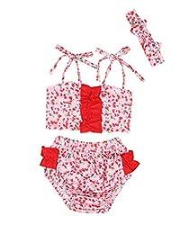 女婴泳装荷叶边红圆点上衣和比基尼裙头巾 2 件泳装