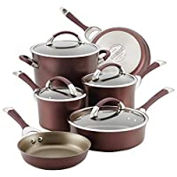 Circulon Symmetry 硬阳极氧化不粘锅炊具套装 11 件套 Merlot 10-Piece Cookware 87529