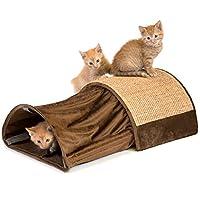 Kitty City XL 宽款优质抓绒针织剑麻地毯系列,刮擦垫,猫咪玩具,猫隧道 棕色