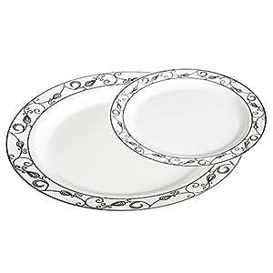 家长列表 #02 White with Silver Scroll 50 piece set (25 guests)