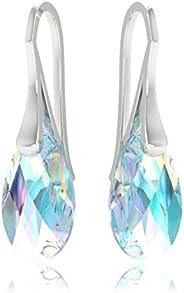 皇家水晶 925 纯银耳环 施华洛世奇水晶 蓝色 Aurora Borealis 吊坠挂钩