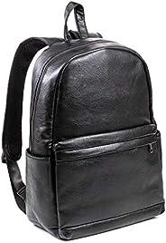 男士高级 PU 黑色皮革背包 - 标志性复古设计系列 - 大型软垫内部笔记本电脑保护膜 - 高级耐用素食实用背包 - 专业,旅行,学生使用