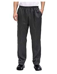 男式和女式宽松厨师制服条纹松紧腰厨师裤