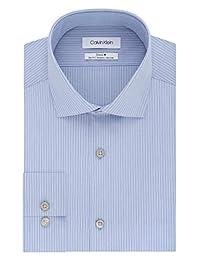Calvin Klein 男式免烫修身弹力条纹礼服衬衫