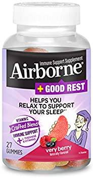 Schiff 旭福 Airborne  維生素C混合+ L-茶氨酸和維生素 漿果軟糖Airborne (1瓶27粒)