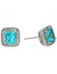 镀铂金标准纯银施华洛世奇正品白色托帕石光环耳钉  Paraiba Blue
