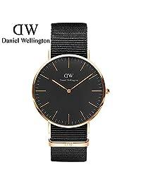 丹尼尔惠灵顿(DanielWellington)手表 DW男表 40mm黑表盘金色边尼龙带超薄男士石英手表 瑞典品牌 专柜同款