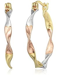 18K 黄金,玫瑰金和镀铑纯银 TRI toned 扭绞环状耳环