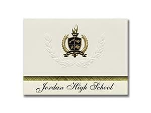 标志性公告 Jordan 高中(桑地,UT)毕业公告,总统风格,25 精英包装,金色和黑色金属箔印章
