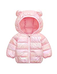 WUSENST 婴儿男孩女孩冬季外套连帽轻便羽绒夹克外套 01-粉色 3T