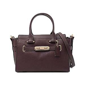 Coach 蔻驰 女式 Swagger 粒面皮革手提包 87295-LIOXB 棕红色 LIOXB 27 * 14.5 * 19.5 cm