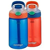 Contigo 康迪克 AUTOSPOUT 帶吸管彈蓋兒童水杯,14oz/414毫升,French Blue & Coral,2件裝