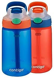 Contigo AUTOSPOUT 带吸管弹盖儿童水杯 French Blue & Coral 2-Pack 2 件装