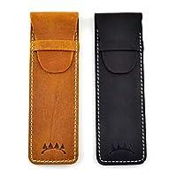 真皮单笔保护套翻盖闭合,*粒面皮革 棕色和黑色