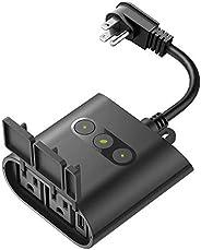 D-Link Wi-Fi 智能户外插头 带 2 个插座和 1 个 USB 端口,无需集线器,与 Google Assistant 配合使用 (DSP-W320-US)