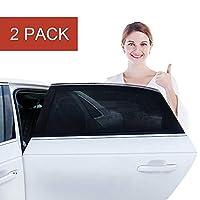 汽车车窗遮阳帘 - 婴儿汽车遮阳帘,2 件装透气后窗遮阳罩可保护您的宝宝和孩子免受阳光照射,适合大多数小型和中型汽车