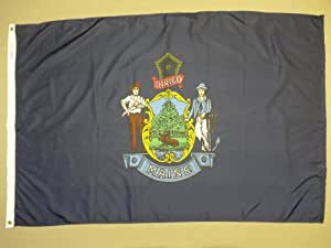 Annin Flagmakers Model 142250 Maine State Flag 2x3 ft. Nylon SolarGuard Nyl-Glo 100% Made in USA to Official State Design Specifications.