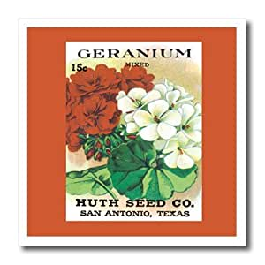 BLN Vintage Seed Packet Reproductions - Geranium Mixed Colors Huth Seed Company San Antonia, Texas - Iron on Heat Transfers 6-Inch