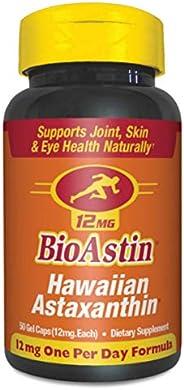 BioAstin 夏威夷虾青素12毫克,50粒-夏威夷种植的优质抗氧化剂-男女眼&关