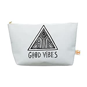 """Kess InHouse Everything Bag, Tapered Pouch, Vasare Nar """"Good Vibes"""" White Black, 8.5 x 4 Inches (VN1027AEP03)"""