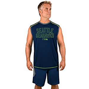 Profile Big & Tall NFL 西雅图海鹰成人男士 NFL Plus S/合成肌肉,3X,风暴灰/*蓝