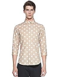 Trendiano 男式 潮休闲波点印花棉质修身中袖休闲衬衫 3133011370