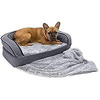 SportPet Designs 豪华沙发休闲宠物床,毛毯双面,防水内衬,**泡沫 灰色 Bolster Bed/Small