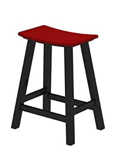 POLYWOOD Contempo Counter Height Saddle Seat Barstool - Black Frame Sunset Red