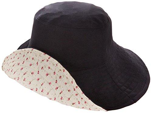 折り畳み式の両面UV帽子黒×花柄