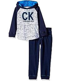 Calvin Klein 男孩2件 jog set-long 袖上衣