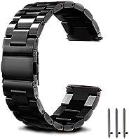 SUUNTO 9 Baro 表帶替換品,Suunto 9 智能手表不銹鋼3珠商務運動表帶(24 毫米)(黑色)
