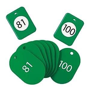 オープン工業 クロークチケット 81~100 绿色
