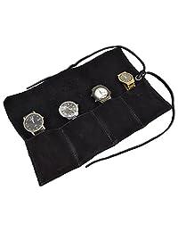 柔软皮革旅行手表卷收纳盒可容纳 4 个手表隐藏和饮料手工制作:炭色绒面革