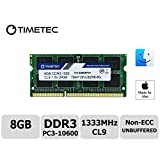 Timetec Hynix IC Apple DDR3 1333MHz PC3-10600 Non-ECC 1.5V CL9 2Rx8 Dual Rank 204 Pin SODIMM Laptop Notebook Computer Memory Ram Module Upgrade 8GB
