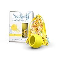 Merula 月经杯 太阳图案(黄色) 均码 医用硅胶材质