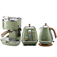 De'Longhi 德龙 Icona Vintage 复古早餐系列 咖啡机+多士炉+电水壶 橄榄绿 (海外自营)(国内官方联保两年)(包邮包税)